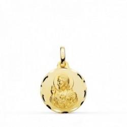 Medalla oro 18k colgante 16mm. Corazón de Jesús cerco tallado unisex