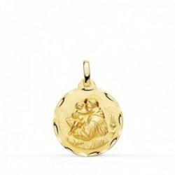 Medalla oro 18k colgante 18mm. San Antonio cerco tallado unisex