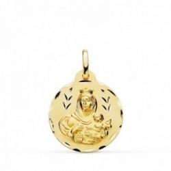 Medalla oro 18k colgante 20mm. Virgen del Carmen cerco tallado unisex