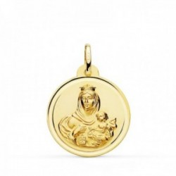 Medalla oro 18k colgante 22mm. Virgen del Carmen bisel unisex