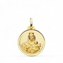 Medalla oro 18k colgante 20mm. Virgen del Carmen bisel unisex