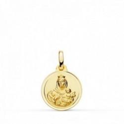 Medalla oro 18k colgante 14mm. Virgen del Carmen bisel unisex