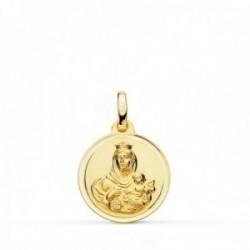 Medalla oro 18k colgante 16mm. Virgen del Carmen bisel unisex