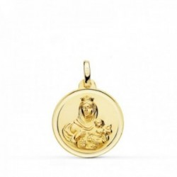 Medalla oro 18k colgante 18mm. Virgen del Carmen bisel unisex