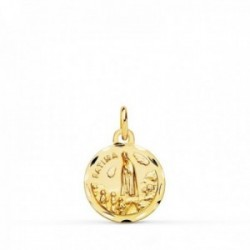 Medalla oro 18k colgante 16mm. Virgen de Fátima cerco tallado unisex