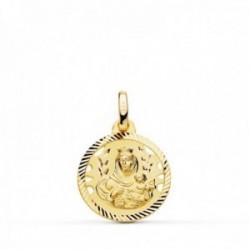 Medalla oro 18k colgante 16mm. Virgen del Carmen cerco tallado unisex