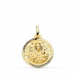 Medalla oro 18k colgante 18mm. Virgen del Carmen cerco tallado unisex