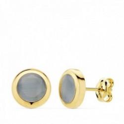 Pendientes oro 18k chatón 8.5mm. piedra azul cierre presión mujer