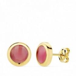 Pendientes oro 18k chatón 8.5mm. piedra rosa cierre presión mujer