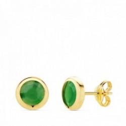 Pendientes oro 18k chatón 6.5mm. piedra verde cierre presión mujer