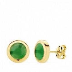Pendientes oro 18k chatón 8.5mm. piedra verde cierre presión mujer
