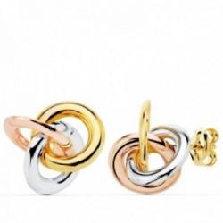 Pendientes oro 18k tricolor nudos 14mm. brillo cierre presión mujer