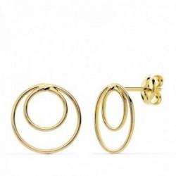 Pendientes oro 18k 13mm. círculos dobles lisos cierre presión mujer