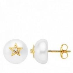 Pendientes oro 18k perla cultivada botón 9mm. estrella circonita cierre presión niña