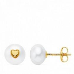 Pendientes oro 18k perla cultivada 7.5mm. corazón cierre presión niña