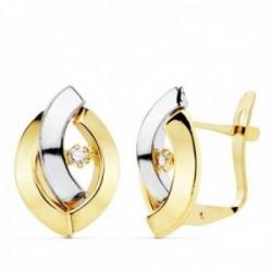 Pendientes oro 18 bicolor 15mm. bandas lisas oval circonitas cierre catalán niña