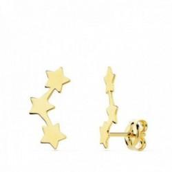 Pendientes oro 18k trepador 13mm. estrellas lisas mujer