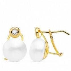 Pendientes oro 18k 15mm. perla cultivada botón 10mm. chatón circonita cierre omega mujer
