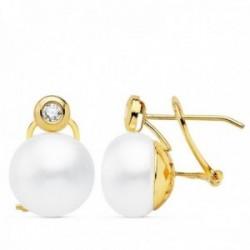 Pendientes oro 18k 16mm. perla cultivada botón 11mm. chatón circonita cierre omega mujer