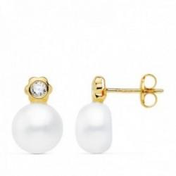 Pendientes oro 18k 12mm. perla cultivada botón 8mm. chatón flor circonita cierre presión niña