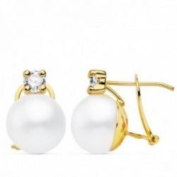 Pendientes oro 18k 15mm. perla cultivada botón 11mm. chatón circonita cierre omega mujer