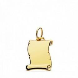 Colgante oro 18k pergamino 14mm. liso brillo unisex