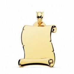 Colgante oro 18k pergamino 28mm. liso brillo unisex