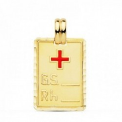 Colgante oro 18k chapa 24mm. cruz roja grupo sanguíneo RH unisex