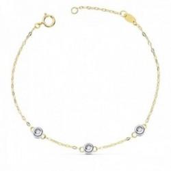 Pulsera oro 18k bicolor forzada 19cm. chatones diamantes brillantes 0.045ct. cierre reasa mujer