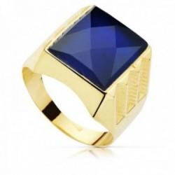 Sello oro 18k hueco piedra espinela azul 14x12mm. cuadrado tallado hombre