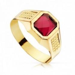 Sello oro 18k infantil hueco piedra espinela roja 7x6mm. tallado niño