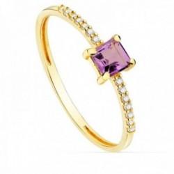 Sortija oro 18k ancho 1mm. centro amatista 4mm. diamantes brillantes 0.07ct. mujer