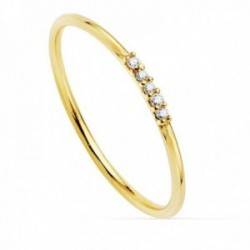 Sortija oro 18k recta redonda 1mm. diamantes brillantes 0.025ct. mujer