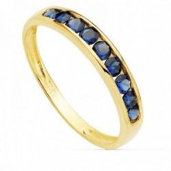 Sortija oro 18k ancho 3.5mm. carril circonitas azules mujer