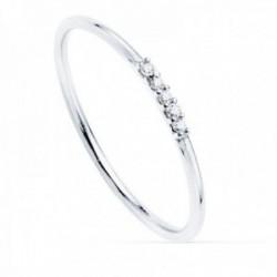 Sortija oro blanco 18k recta diamantes brillantes 0.025ct. cuerpo redondo 1mm. mujer