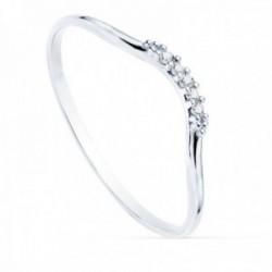 Sortija oro blanco 18k curva redonda 1mm. diamantes brillantes 0.025ct. mujer