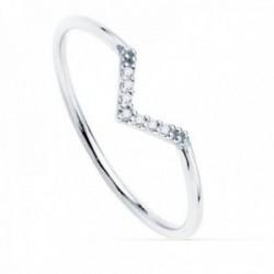 Sortija oro blanco 18k redonda 1mm. diamantes brillantes 0.035ct. mujer