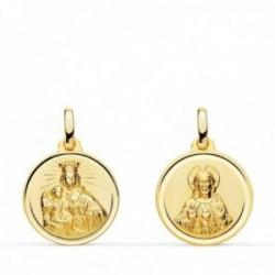 Medalla oro 18k colgante escapulario 16mm. Virgen del Carmen Corazón de Jesús bisel unisex