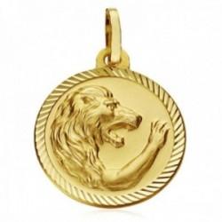 Medalla oro 18k horóscopo signo Leo 20mm. cerco tallado signo zodiaco