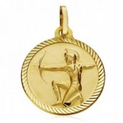 Medalla oro 18k horóscopo signo Sagitario 20mm. cerco tallado signo zodiaco