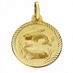Medalla oro 18k horóscopo signo Piscis 20mm. cerco tallado signo zodiaco