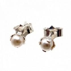 Pendientes plata Ley 925m perla sintética 5mm. garras cierre presión
