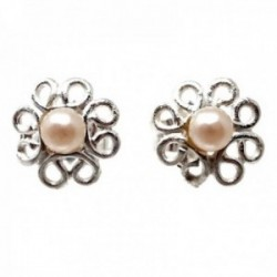 Pendientes plata Ley 925m flor 8mm. pétalos calados centro perla sintética cierre presión