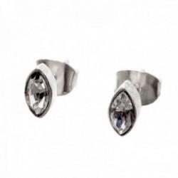 Pendientes plata Ley 925m circonita oval cerco liso 7mm. cierre presión