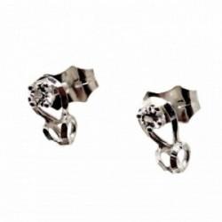 Pendientes plata Ley 925m lágrima hueca calada 8mm. circonita centro cierre presión