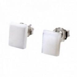 Pendientes plata Ley 925m Rectángulos 8mm. color blanco nacarados cierre presión