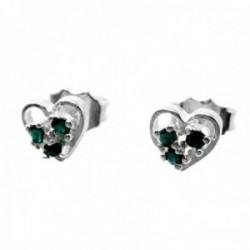 Pendientes plata Ley 925m corazón 7mm. centro trío circonitas verdes cierre presión