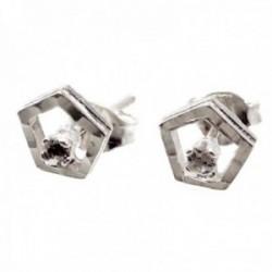 Pendientes plata Ley 925m pentágono 7mm. cerco tallado brillo centro circonita cierre presión