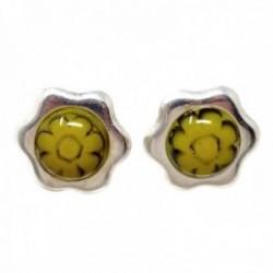 Pendientes plata Ley 925m flor 12mm. centro color amarillo piedra murano cierre presión