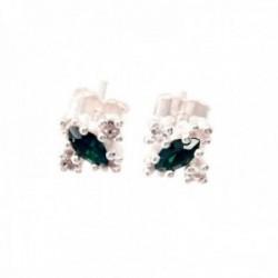 Pendientes plata Ley 925m centro circonita oval verde garras 9mm laterales circonitas blancas